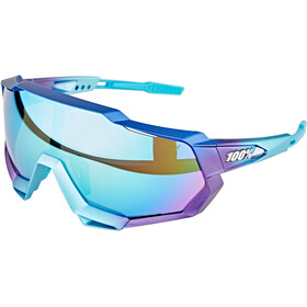 100% Speedtrap Glasses matte metallic into the fade/blue mirror